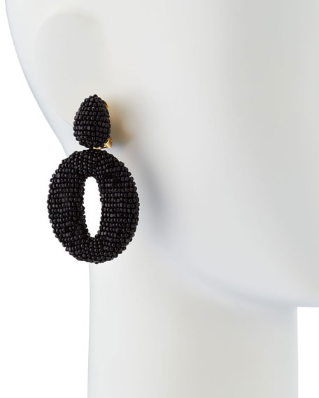 Oscar O Clip Beaded Earrings, Black