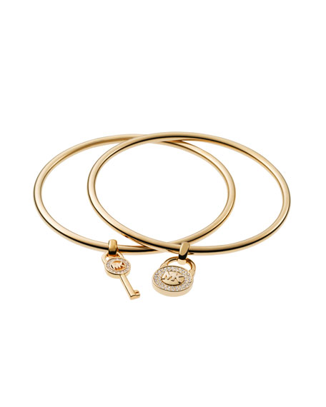 Padlock/Key Charm Bangle Set, Golden