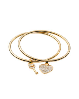 Michael Kors  Heart/Lock Charm Bangle Set, Golden