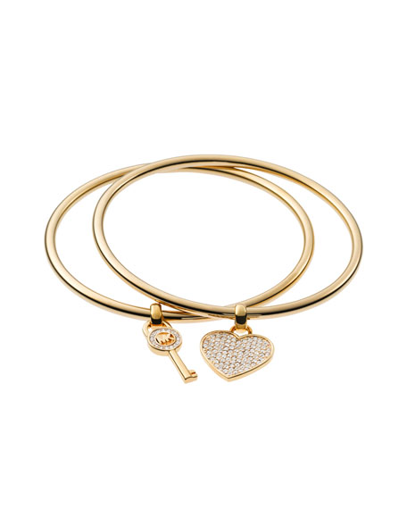 Heart/Lock Charm Bangle Set, Golden