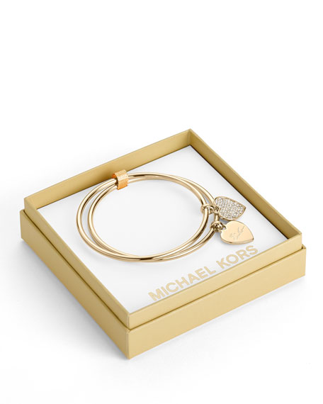 Heart Charm Bangle Set, Golden