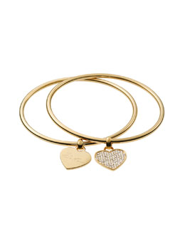 Michael Kors  Heart Charm Bangle Set, Golden