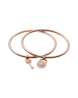 Michael Kors  Padlock/Key Charm Bangle Set, Rose Golden