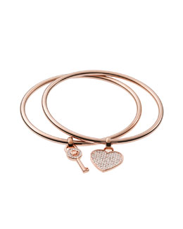 Michael Kors  Heart/Lock Charm Bangle Set, Rose Golden