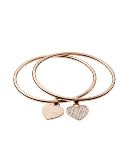Michael Kors  Heart Charm Bangle Set, Rose Golden