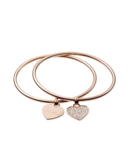 Heart Charm Bangle Set, Rose Golden