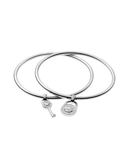 Michael Kors  Padlock/Key Charm Bangle Set, Silver Color