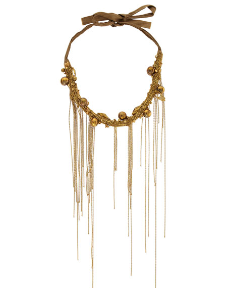 Chain-Fringe Collar Necklace