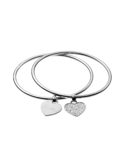 Michael Kors  Heart Charm Bangle Set, Silver Color