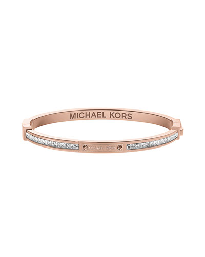 Michael Kors  Thin Pave Hinge Bracelet, Rose Golden