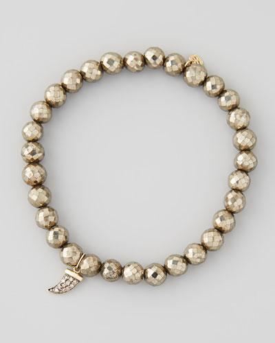 Sydney Evan Pave Diamond Horn-Charm Pyrite-Bead Bracelet