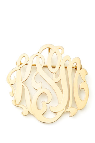 Moon and Lola Gold-Plated Script Monogram Pin