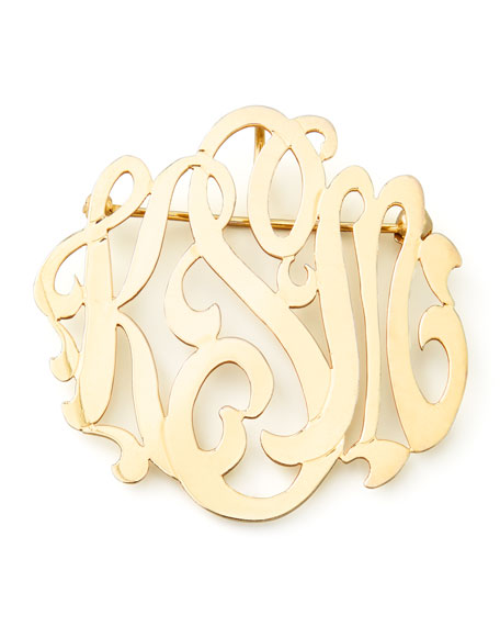 Moon & Lola Gold-Plated Script Monogram Pin