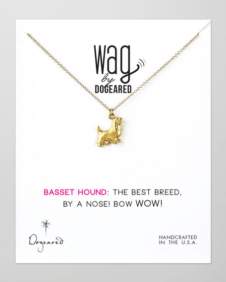 14k Vermeil Basset Hound Dog Necklace