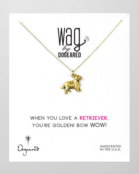 14k Vermeil Golden Retriever Dog Necklace
