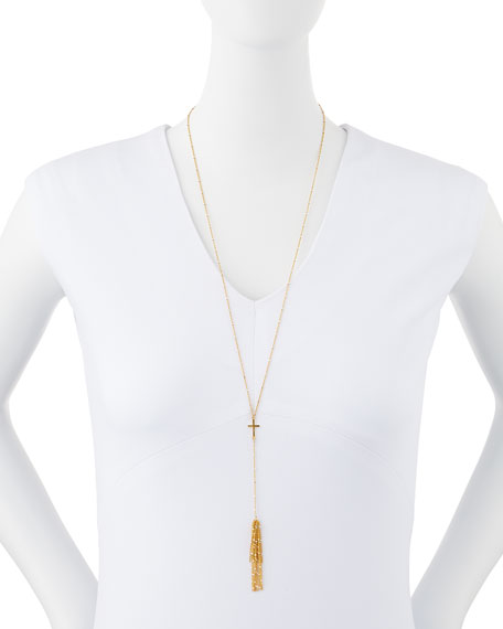 Cross Tassel Necklace, 27""