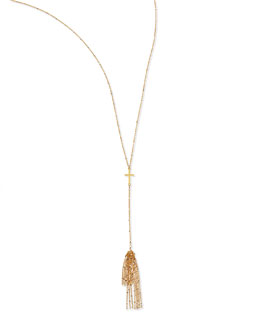 Dogeared Cross Tassel Necklace, 27""