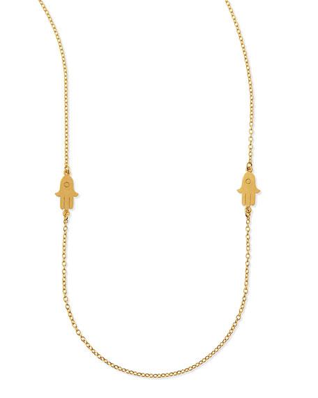 "Hamsa Charm Layering Necklace, 50""L"