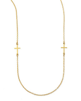 "Dogeared Cross Charm Layering Necklace, 50""L"