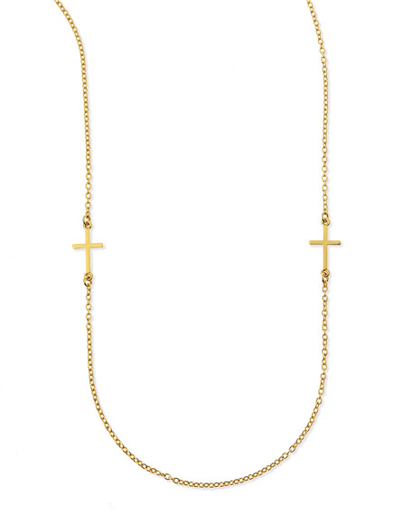 dogeared cross charm layering necklace 50 quot l