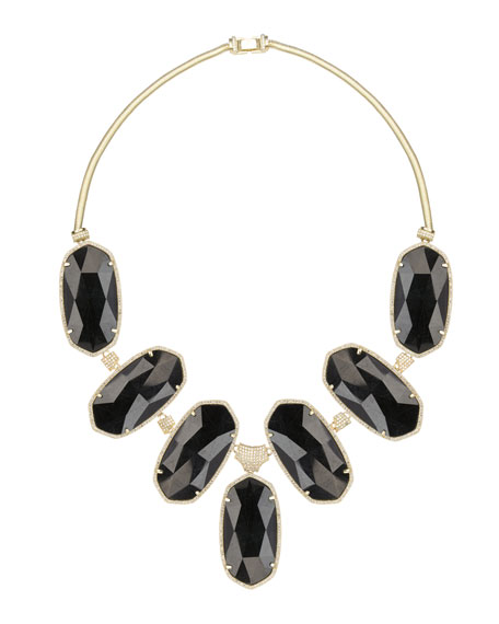 Large Black Tourmaline Bib Necklace
