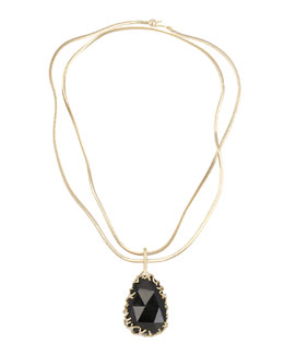 Kendra Scott Luxe Branch-Bezel Black Tourmaline Pendant Necklace