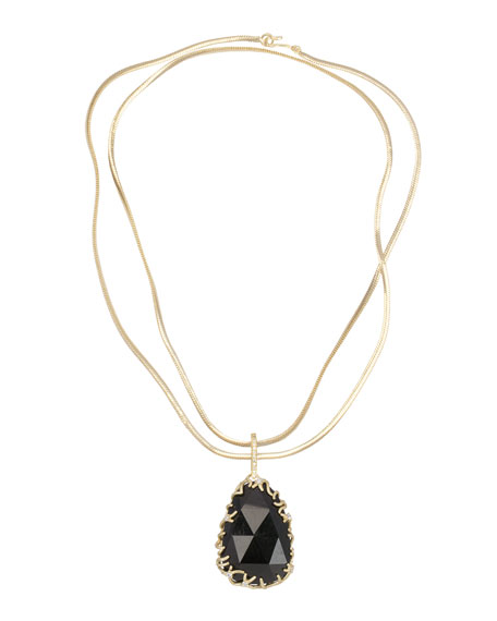 Branch-Bezel Black Tourmaline Pendant Necklace