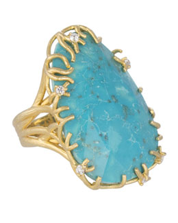 Kendra Scott Luxe Large Branch-Bezel Ring, Turquoise