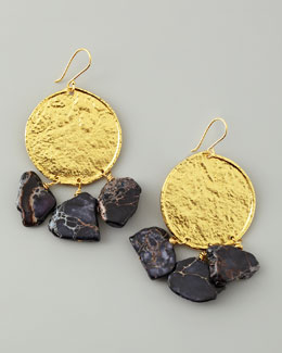 Nest 22k Yellow Gold Plate & Black Jasper Drop Earrings