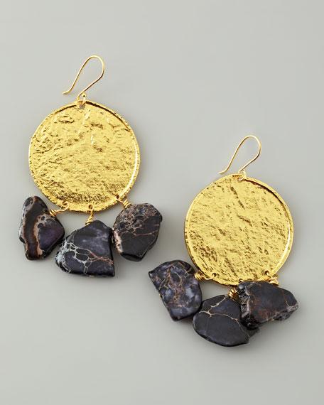 22k Yellow Gold Plate & Black Jasper Drop Earrings