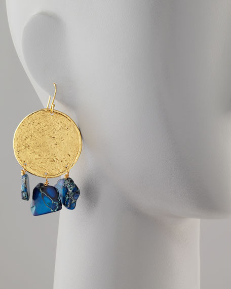 22k Yellow Gold Plate & Blue Jasper Drop Earrings