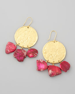Nest 22k Yellow Gold Plate & Pink Jasper Drop Earrings