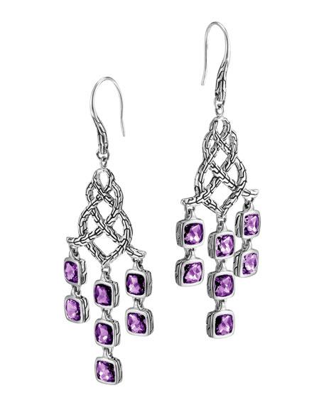 Batu Chain Silver Amethyst Chandelier Earrings
