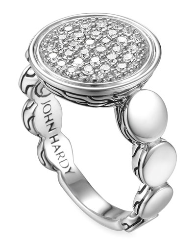 John Hardy Dot Silver Large Pave Diamond Ring