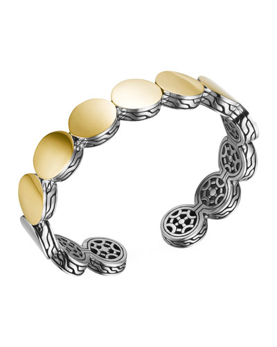 John Hardy Dot Silver & Gold-Plate Flex Cuff, 13.5mm