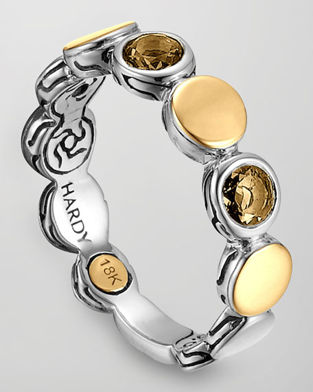 Batu Dot Gold/Silver Smoky Quartz Band Ring