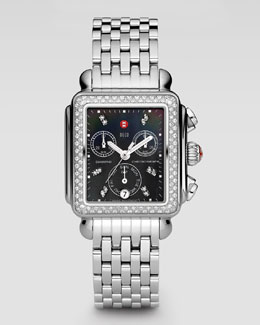 MICHELE Deco Diamond Watch Head, Stainless Steel/Gray