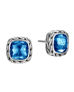 John Hardy Classic Chain London Blue Topaz Stud Earrings