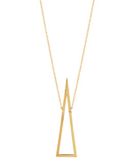 Jennifer Zeuner Naven Open-Triangle Necklace with Single Diamond
