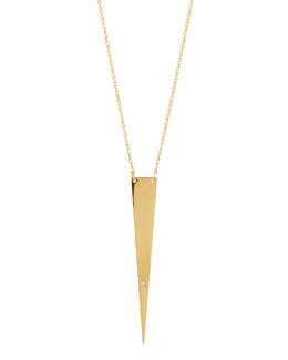 Jennifer Zeuner Ofira Solid-Triangle Necklace with Single Diamond