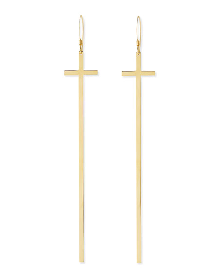 Elongated 18k Gold Cross Earrings