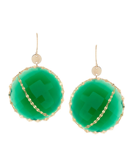 Glow Green Onyx 14k Gold Earrings