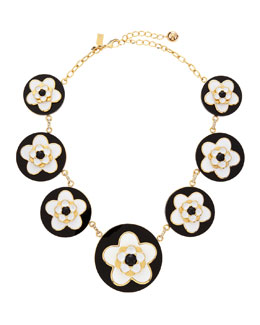 kate spade new york mod floral necklace, black/white