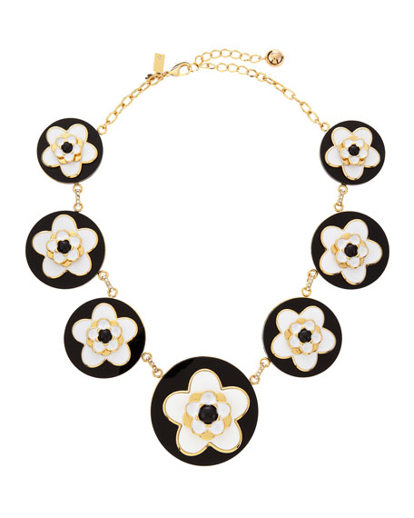 mod floral necklace, black/white