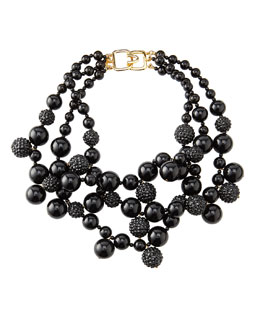 Kenneth Jay Lane Pave Crystal Beaded Cluster Necklace, Black