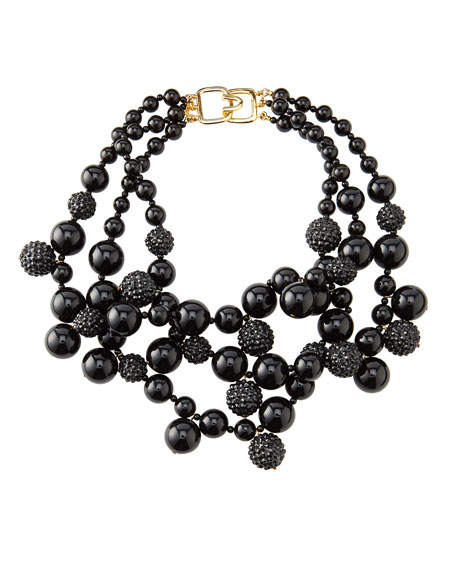 Pave Crystal Beaded Cluster Necklace, Black