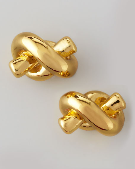 sailor's knot stud earrings, gold