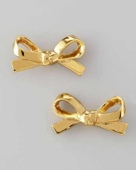 mini bow stud earrings, gold