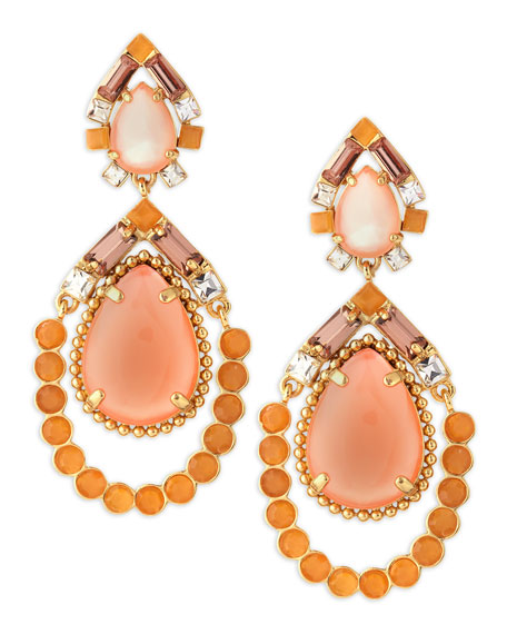 amalfi mosaic earrings, pink/orange