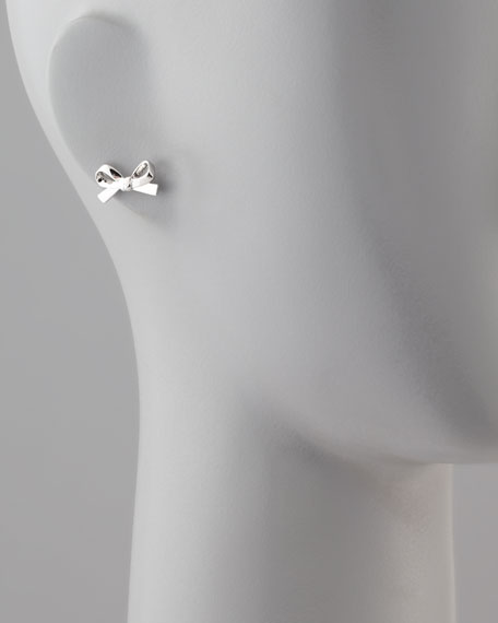 Mini Bow Stud Earrings, Silver